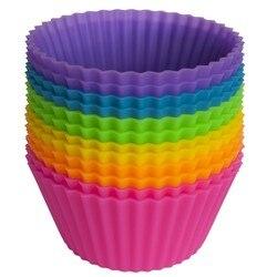 Conjunto de 12 peças (1 dúzia) em forma redonda bolo de silicone moldes de cozimento geléia molde silicone cupcake pan muffin cup (00372)