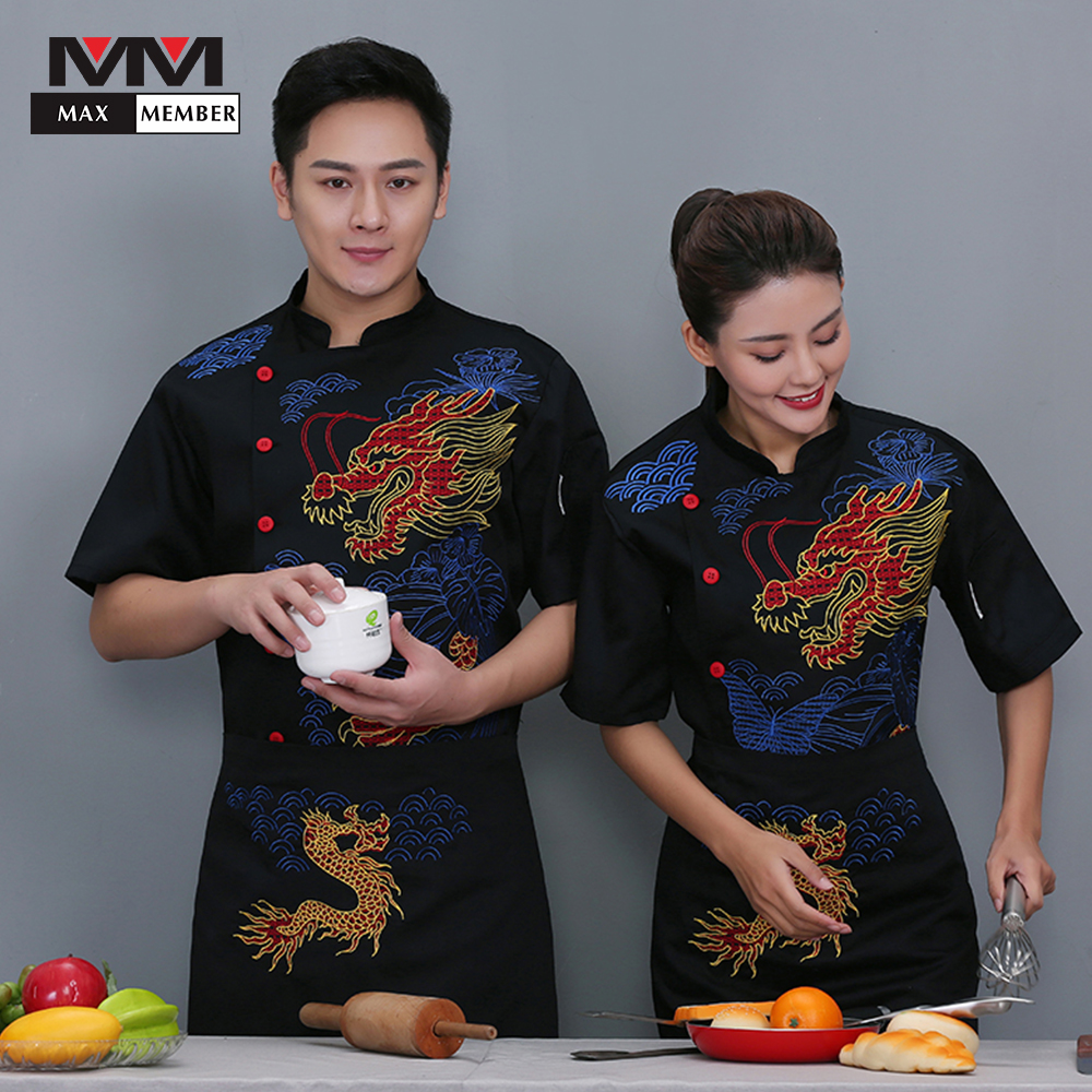 Chef Workwear Men's Short Sleeve Summer Hotel Catering School Canteen Staff Female Clothes Kitchen Tops Restaurant Uniform