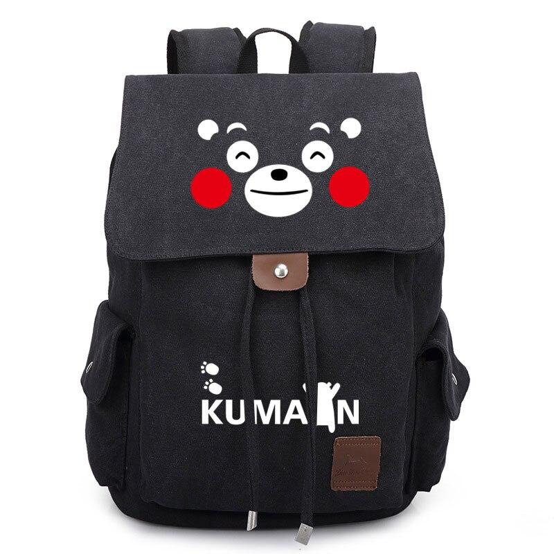 Anime Kumamoto Kumamon toile sac à dos cordon décontracté voyage école sac à bandoulière grande capacité étudiant Cosplay ordinateur portable sac à dos