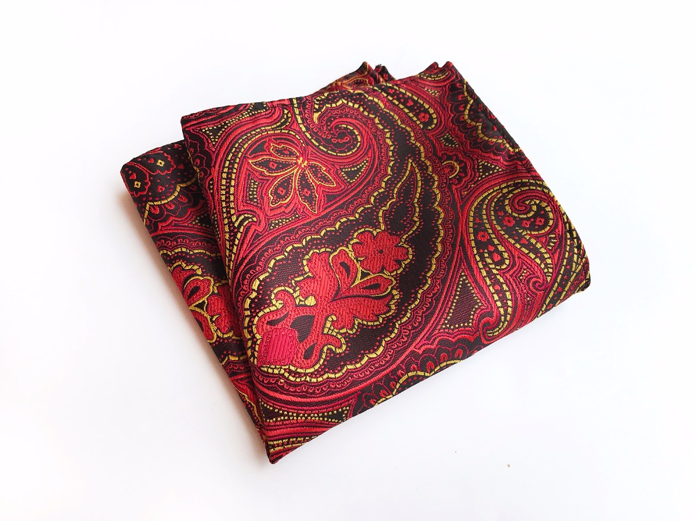Paisley Floral Men Silk Satin Pocket Square Handkerchief