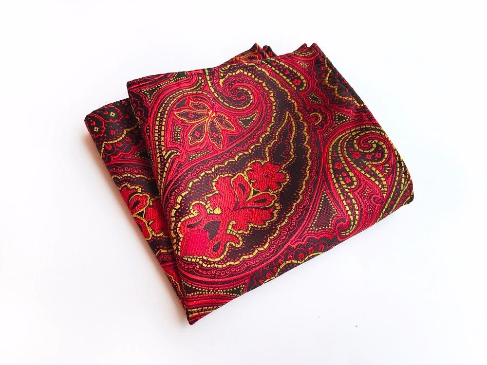 Paisley Floral Men Silk Satin Pocket Square Handkerchief