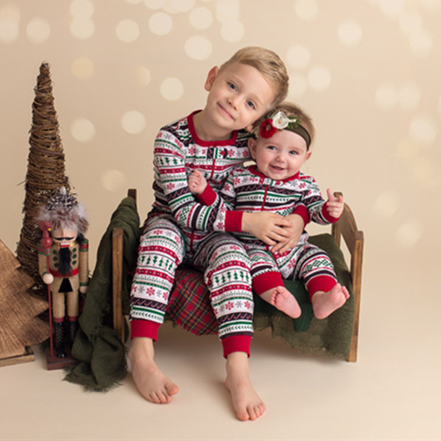 little sister matching christmas pajamas little brother romper+ pajamas  sets sisters matching outfits matching clothes family - Little Sister Matching Christmas Pajamas Little Brother Romper+
