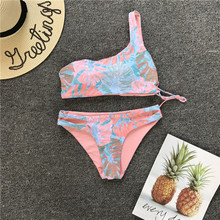 Split Swimwear 2018 Women One Shoulder Swimsuit Leaf Printed Bikini Set Sexy Bandage Top Bra Bathing Suit Beachwear Banquini