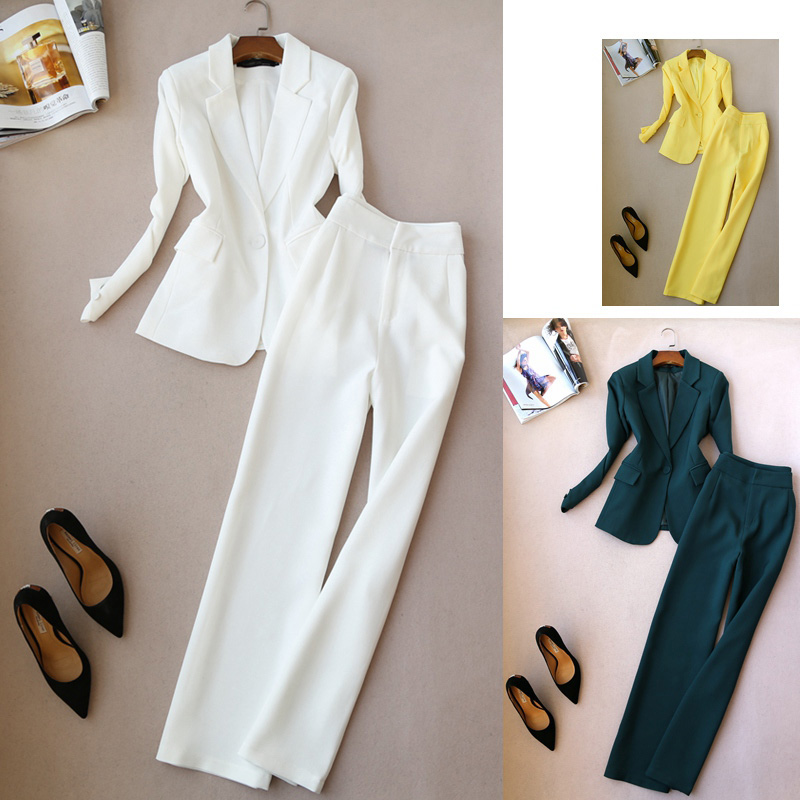 Fashion Suit Spring And Autumn New Slim OL Temperament One Button Long-sleeved Suit High Waist Wide Leg Pants Trousers Women