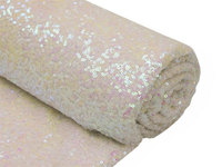 ShinyBeauty 8 Yards Changed White Sequin Fabric for Wedding/Events/Tablecloth/Backdrop/Table Runner Decoration