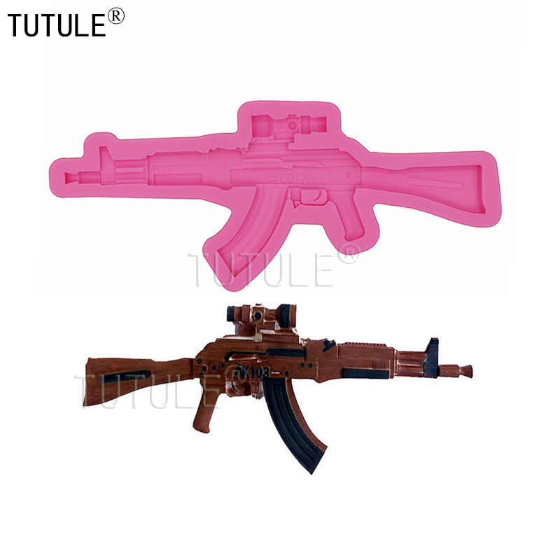 Gadgets-Kleine Pistole Silikon Form Lebensmittel Sicher Fondant Schokolade Gun Form Silikon Gewehr Form Cupcake Fondant Polymer Clay Mould