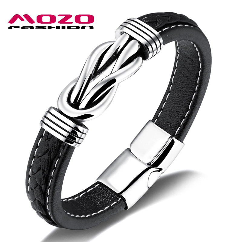 MOZO FASHION NEW Men Jewelry Black Leather Bracelet Stainless Steel Punk Double knot Charm Magnet buckle Bracelets PS2074 стоимость