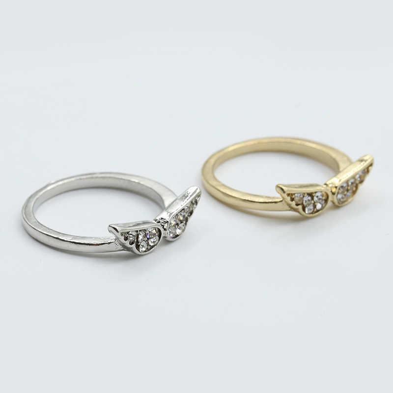 Silver Rose แหวนผู้หญิงแหวนหมั้นผู้หญิงเครื่องประดับแหวนคริสตัลสำหรับ Lady Wing รูปร่างแหวนของขวัญ