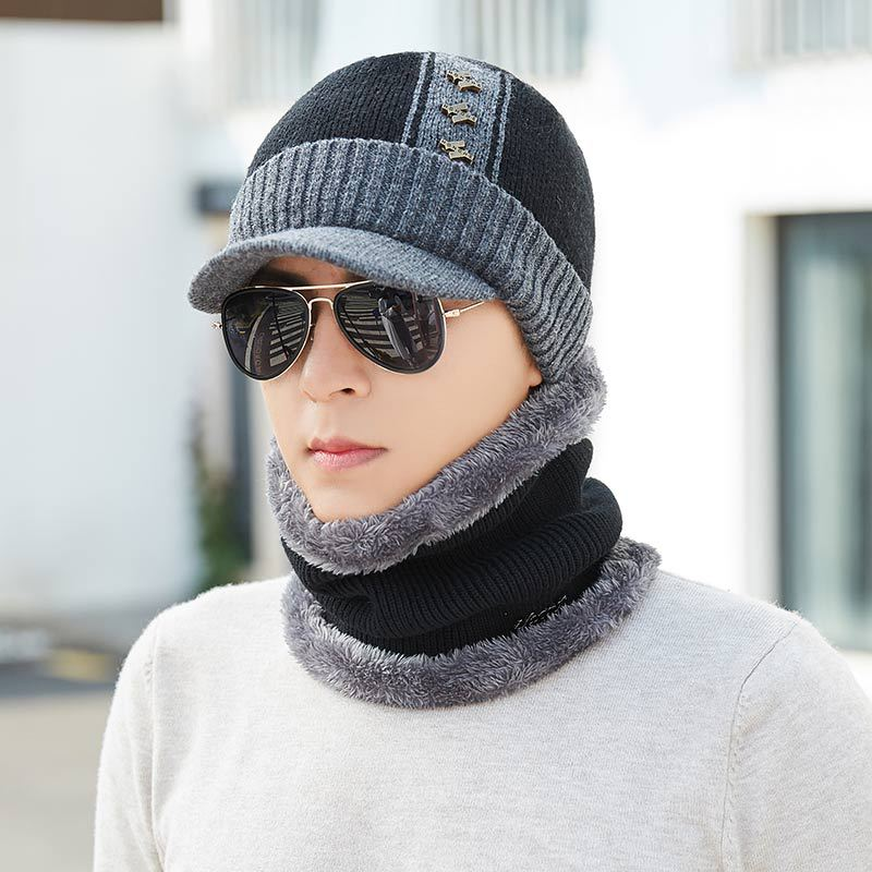 2019 Thick Winter hat Scarf Set Men Women Thicken Cotton Skullies Beains Casual Warm Hat Ring Scarf Female Hats Men High Quality