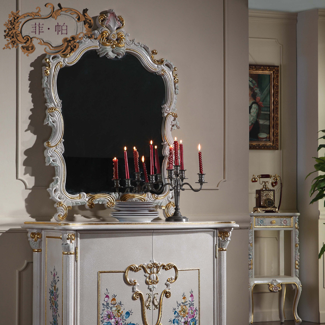 luxury furniture italy design - solid wood royalty cracking paint mirror