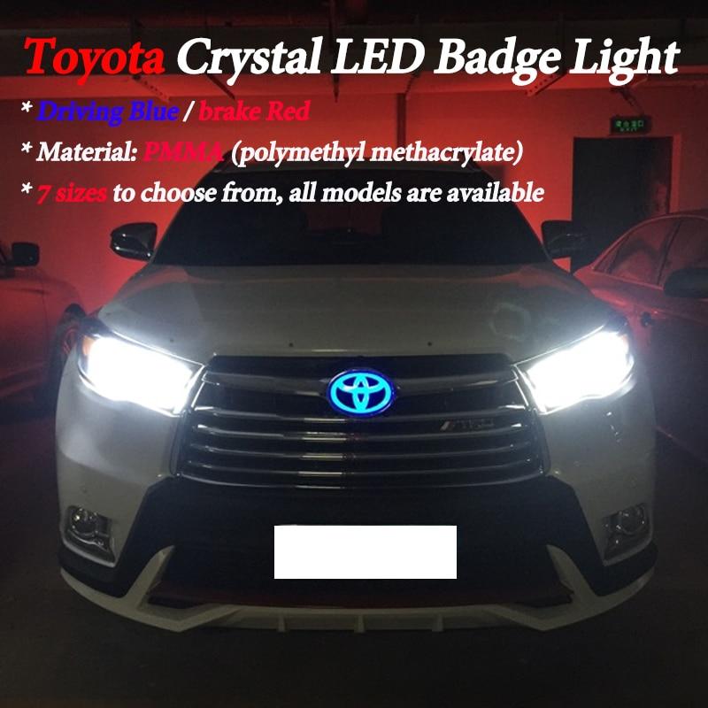 Crystal LED Badge For toyota yaris rav4 prius camry hilux corolla 2008 verso auris avensis sienna Prado LED Logo Emblem Light