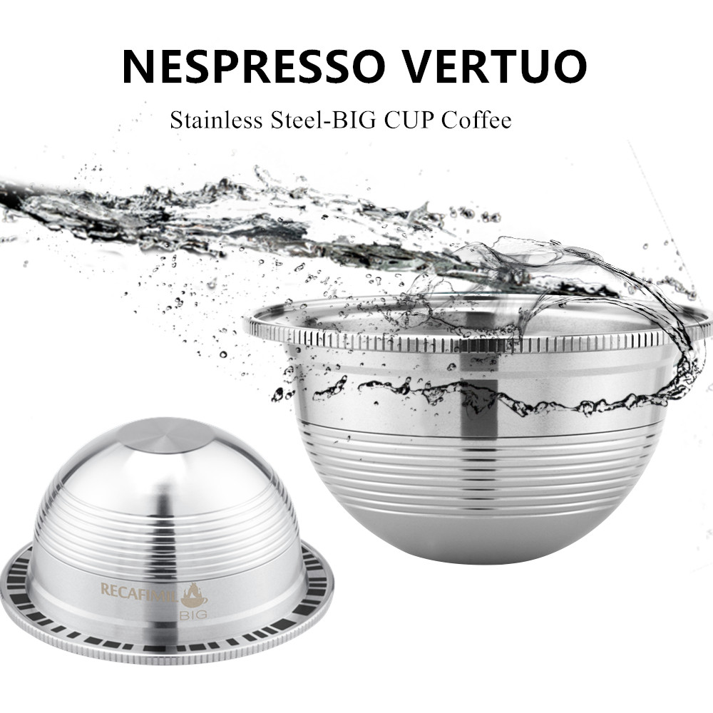 ICafilas Stianless Steel Nespresso Vertuo 커피 캡슐 필터 용 재사용 가능한 빅 컵 Espresso Vertuoline