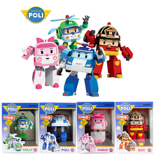 4pcs/Set Original box Robocar Poli Korea kids Toys Robot Transformation Anime Action Figure Toys For Children Playmobil