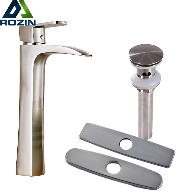 Brushed Nickel Waterfall Countertop Bathroom Sink Faucet Single Lever One Hole Washing Basin Mixer Taps with Hot and Cold Water wall mounted dual handle waterfall basin faucet brushed nickel hot and cold wash basin mixer taps