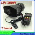 Hot 12V 100W 7 Sound Car Electronic Warning Siren Motorcycle Alarm Police Firemen Ambulance Loudspeaker With MIC Horn Megaphone