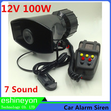 Hot 12V 100W 7 Sound Car Electronic Warning Siren Motorcycle Alarm Police Firemen Ambulance Loudspeaker With MIC Horn Megaphone