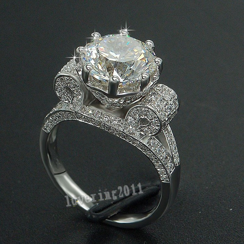 luxury eiffel tower women men jewelry ring 9mm 3ct 5a zircon cz 925 sterling silver engagement