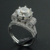 Luxury Eiffel Tower Women Men Jewelry Ring 9mm 3ct Simulated Diamond Cz 925 Sterling Silver Engagement
