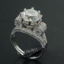 Luxury EIFFEL Tower ผู้หญิงผู้ชายเครื่องประดับแหวน 9 มม.AAAAA Zircon CZ 925 เงินสเตอร์ลิงแหวนหมั้นแหวนสำหรับผู้หญิงของขวัญ