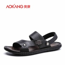 Aokang 2017 New Arrival Daily Casual Summer Men Sandals Genuine Leather Sandals For Men Flip Flops Breathable Leather Man Shoes