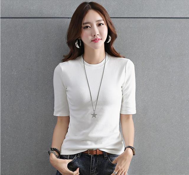 e95fe3acc Autumn cotton white black t-shirt women's tight half-high collar five-point  sleeve short section t-shirt 2018 new