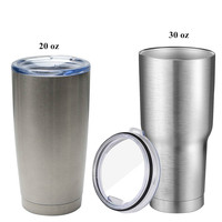 New Arrived Sliver Metal Insulated Tumbler Travel Mug Water Bottle Beer Coffee Mugs with Lid for Car Cups 20/30 oz