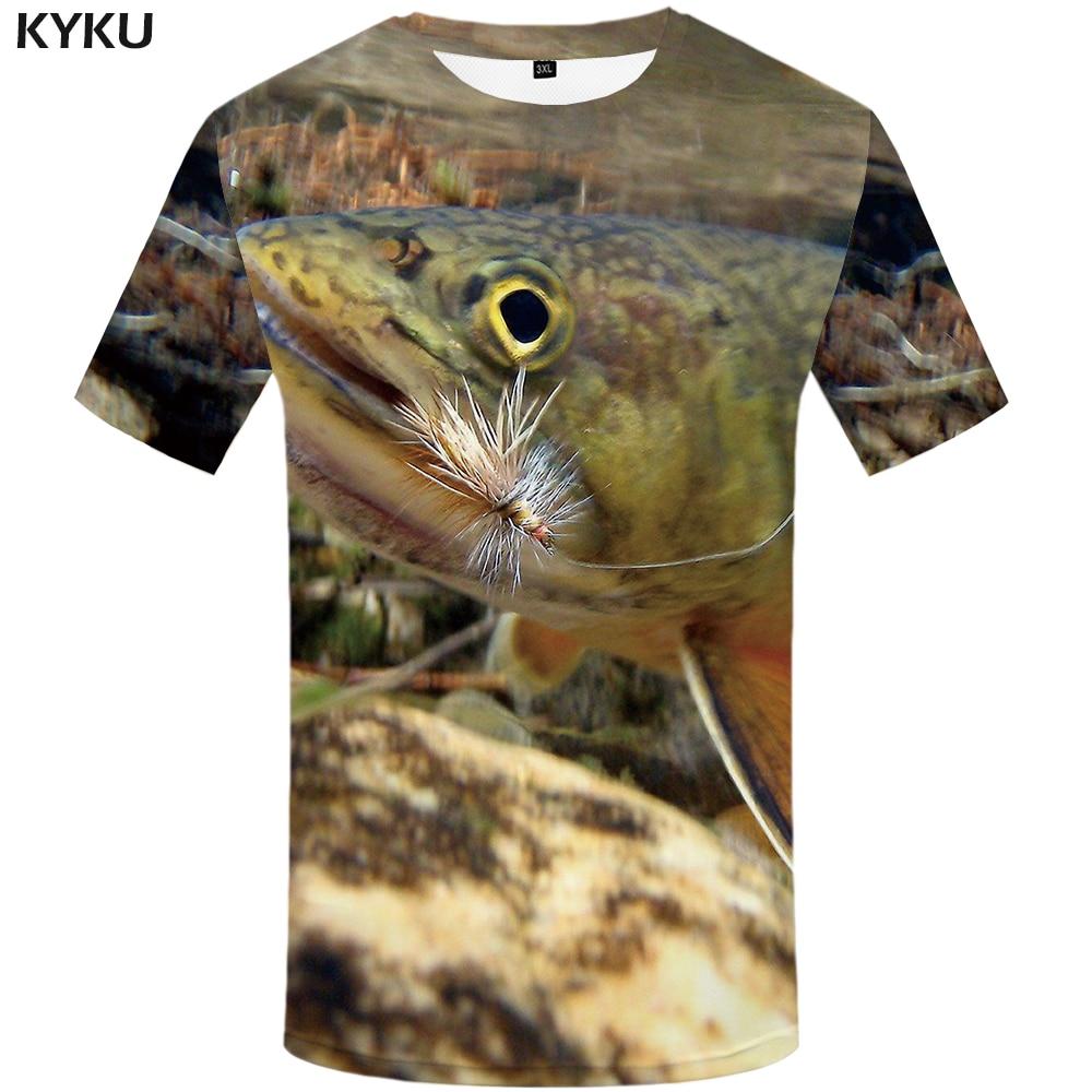the best attitude 89320 62d74 KYKU Fisch T-shirt Männer Lustige T-shirt Tropical Ozean 3d Print T Shirt  Tier Anime Kleidung Fishinger Punk Rock Herren Kleidung sommer