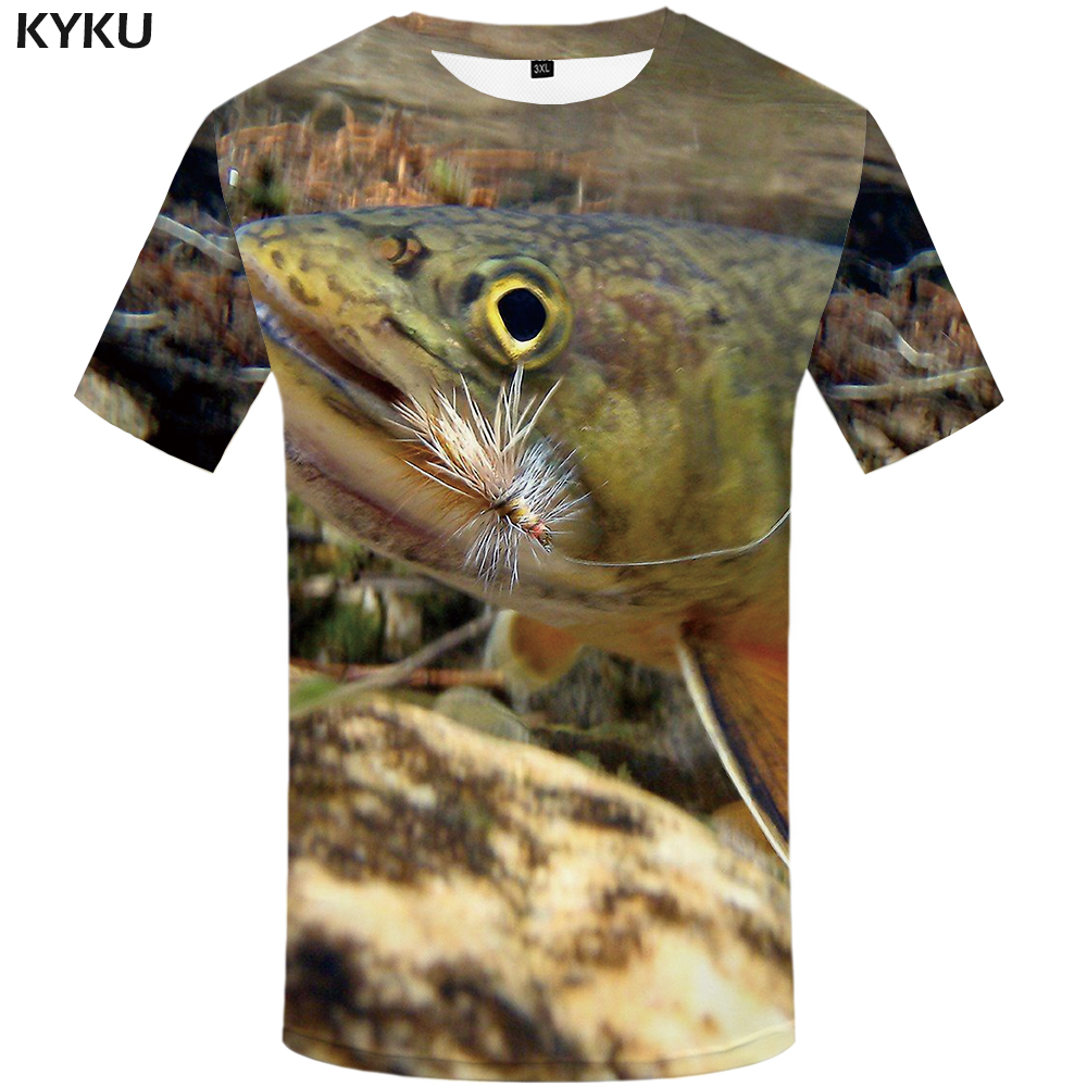 KYKU Fish Tshirt Men Funny   T  -  shirt   Tropical Ocean 3d Print   T     Shirt   Animal Anime Clothes Fishinger Punk Rock Mens Clothing Summer