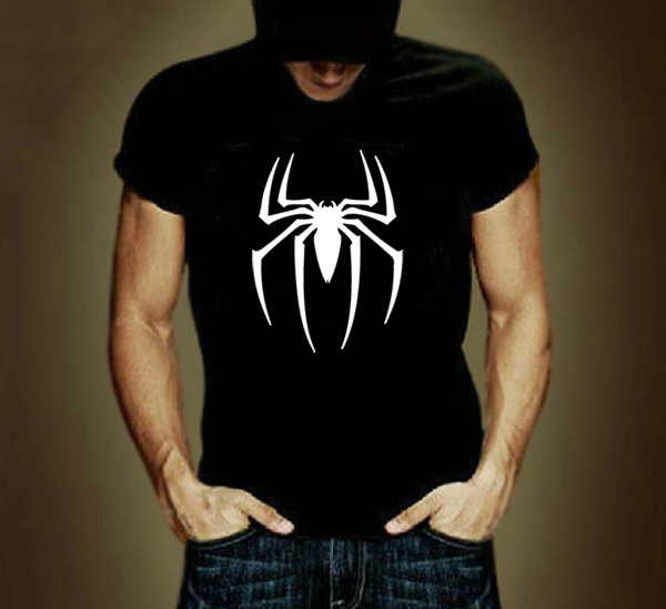 Spider man logo print t shirt men black superhero fashion for Tee shirt logo printing