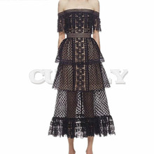 Cuerly High Quality Runway Dress 2019 New Women Self Portrait Slash Neck Off the shoulder Black Frill Cake Long Lace