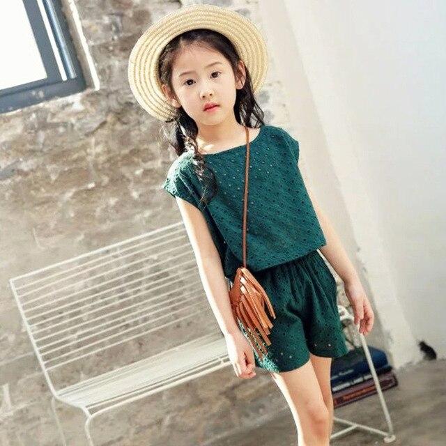 dcf76637f Baby Girl Wear 2018 Summer New 2PCS Korean Kids Girls Solid Green ...