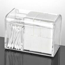 Transparent Dustproof discharge makeup Cotton Storage Box Cover Flip makeup remove Cotton Swab Acrylic Cosmetic Organizer