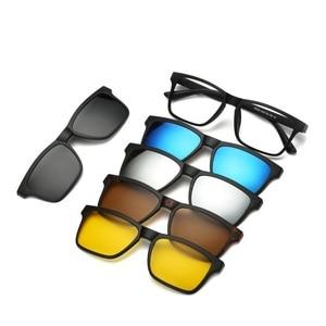 Image 4 - 새로운 브랜드 5 + 1 레트로 편광 된 근시 클립 선글라스 안경 프레임 남성 여성 5 자석 세트 미러 안경 프레임 남성