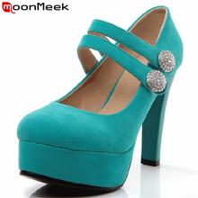 Moonmeek плюс размер 32-42 высокие каблуки платформы пряжка ремень женщины насосы высочайшее качество замши твердые женская обувь популярные свадебная обувь