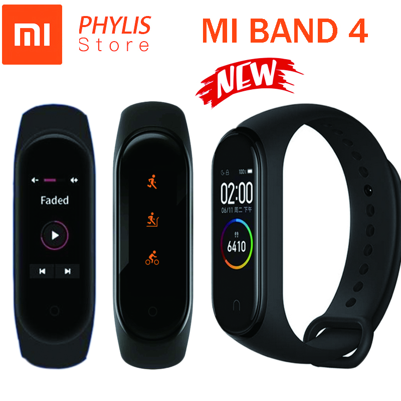 Xiao original mi banda 4 banda inteligente esporte rastreador de fitness pedômetro monitor de freqüência cardíaca fitbits bracele para xio mi banda 4 3