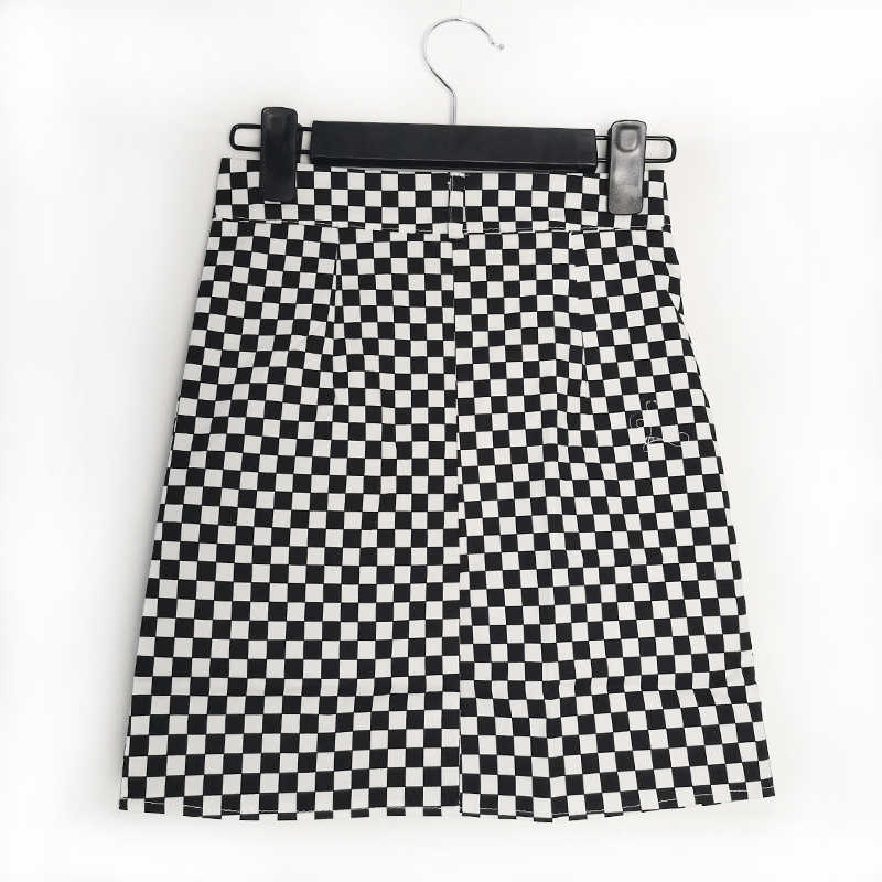 4d1b05e175 ... Flectit Street Style Black & White Checkered Skirt Women Above Knee  O-Ring Zipper Front