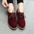 Британский минималистский матовая глубокие рот обувь женщин 2016 новый стиль кружева на низком каблуке плоские туфли круглого toe оксфорд обувь, чтобы помочь низкий