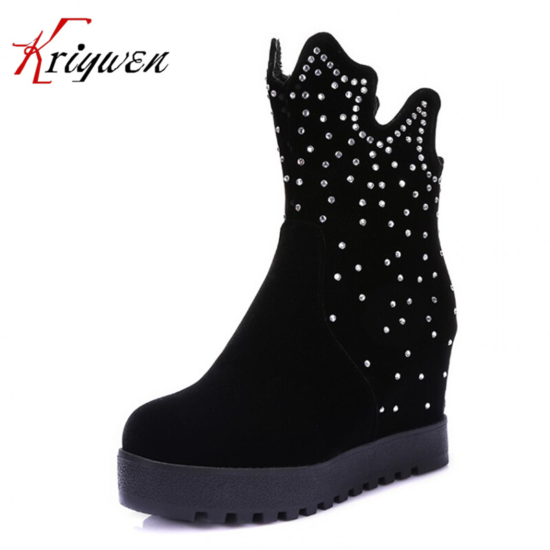 Plus size 34-43 Vintage Fashion flock Snow Boots Round toe Winter Elegant ladies Shoes high heels Platform Ankle Boots for Women new 2017 spring summer women shoes pointed toe high quality brand fashion womens flats ladies plus size 41 sweet flock t179