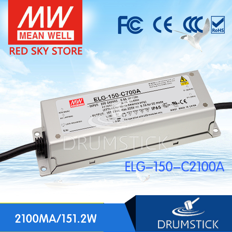 MEAN WELL ELG-150-C2100A 80V 2100mA meanwell ELG-150 80V 151.2W  LED Driver Power Supply A type [Real6] mean well hvgc 150 350a 42 428v 350ma meanwell hvgc 150 149 8w singleoutput led driver power supply a type
