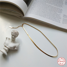 925 Sterling Silver Necklace Flat Snake Chain Gold Fashion Choker For Women Jewelry Charms