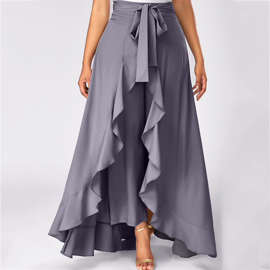 Women Solid Irregular Ruffles Hem Waist Bandage Long Skirt Casual Loose Floor-Length Summer Skirts Elegant Party Maxi Skirt Jupe