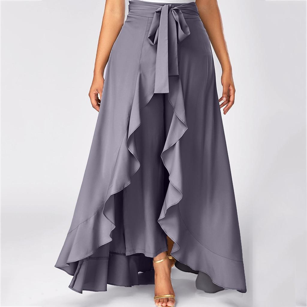 Women Solid Irregular Ruffles Hem Waist Bandage Long Skirt Casual Loose Floor-Length Summer Skirts Elegant Party Maxi Skirt Jupe