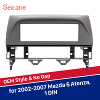 Seicane 1DIN Car Radio Fascia Mounted Kit for Mazda 6 Atenza Stereo Dashboard Surrounded Panel Fitting Frame Grey