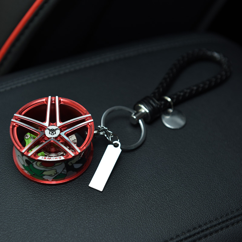 Upscale Luxury Racing Metal Car Wheel Keychain with Leather Rope 360 Rotate Disc Brake Keyring Sleutelhanger Llaveros Chaveiro