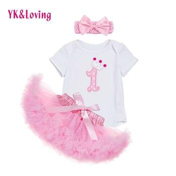 Pasgeboren/Baby 3 stks Rok Kleding Sets Baby Meisjes Romper Pettiskirt Tutu Rok Kleding Past Prinses Verjaardagsfeestje Kostuum