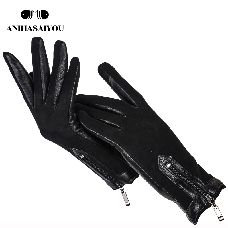 Zipper Short Women's Leather Gloves,High Grade Sheepskin Women's Winter Gloves,Matte Leather Black Women's Gloves - 0716