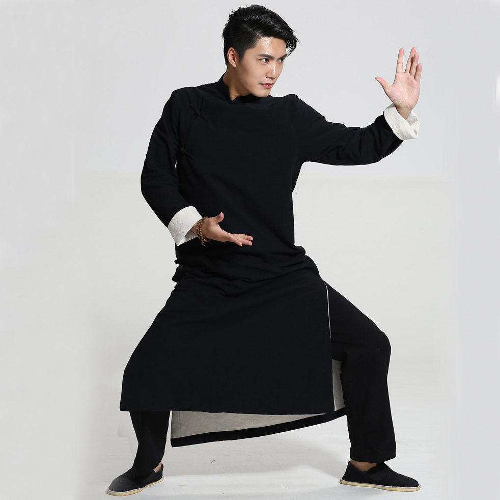 Black Chinese Men Crosstalk Sketch Storytelling Performance Clothing Long Cotton Dress Robe Gown Two Side Kung