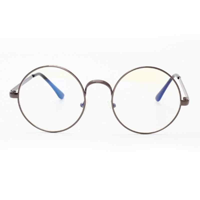 efaca273d59e ... Unisex Retro Round Glasses Spectacle Radiation Protection Stylish and Fashionable  Metal Frame Women Men Vintage Plain