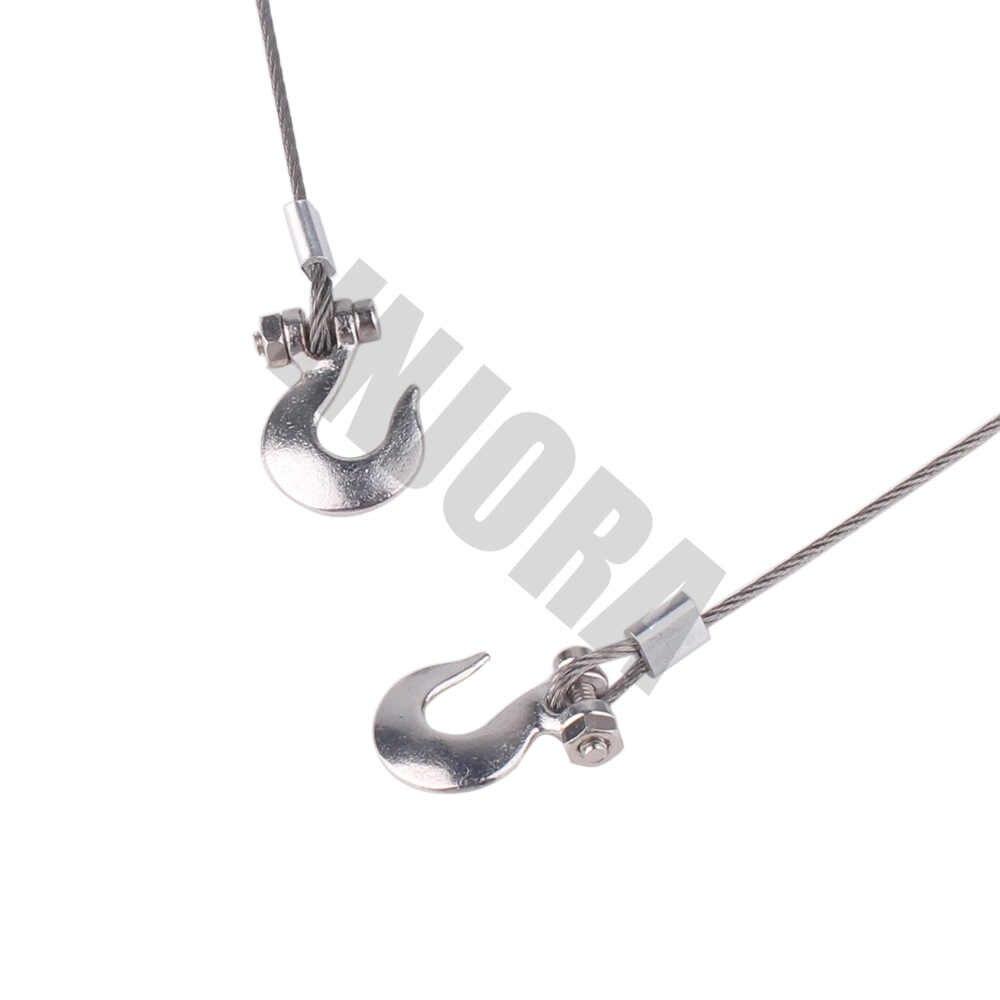 Металлическое серебристое стальной трос для буксировки с крючками для 1:10 RC Гусеничный RC подъемник осевой SCX10 90046 D90 TF2 Traxxas TRX-4 TRX4