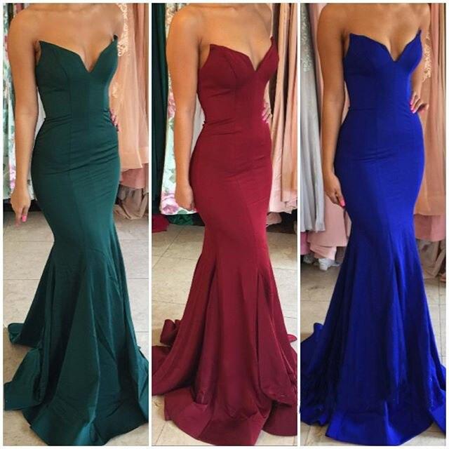 Simple Elegant Mermaid Prom Dresses 2019 Sweetheart Royal Blue Evening Dress Women Party Gown vestido gala